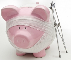 piggy bank crutches